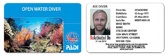 PADI Reactivate Card